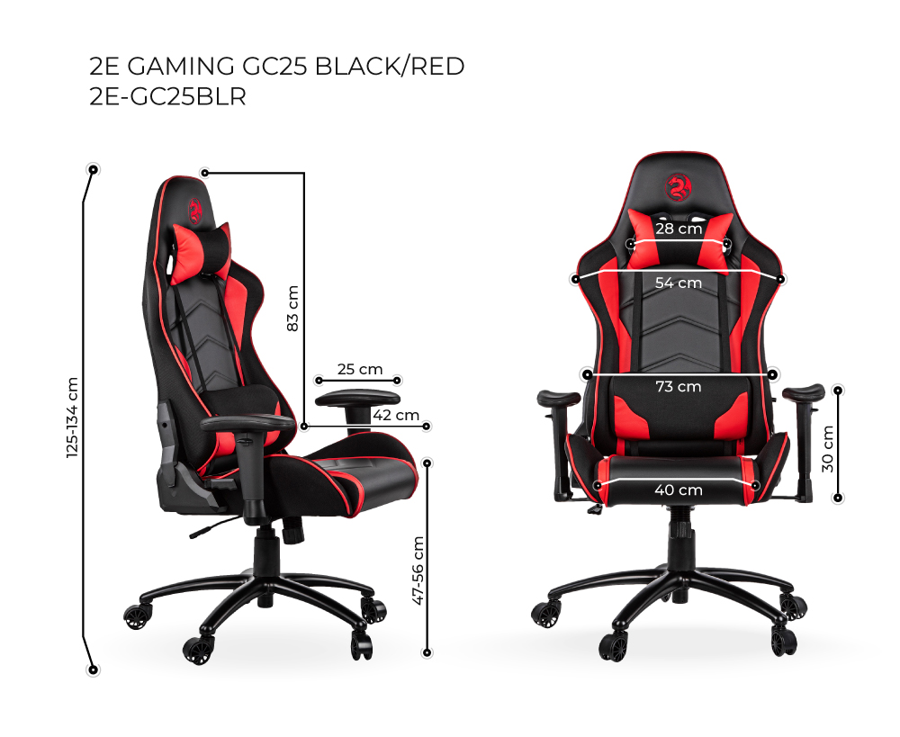 Игровое кресло 2E GC25 Black/Red 2